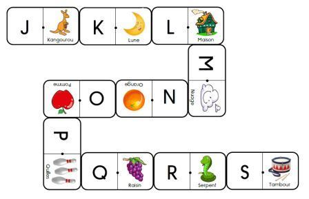 Les dominos des lettres capitales-mot référence