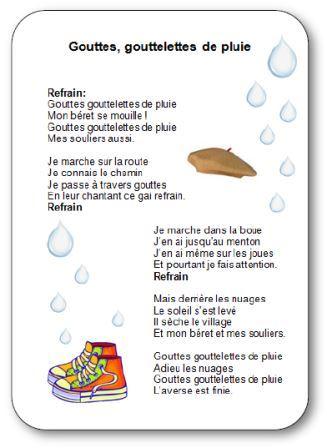 Comptine pour enfants sur la pluie, l'eau et l'automne Gouttes goutelettes de pluie