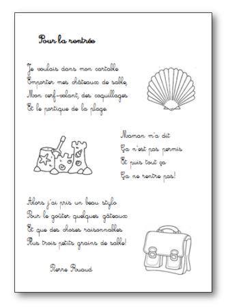 Po sie pour la rentr e de pierre ruaud po sie illustr e - Dessin d un cartable ...
