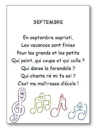 Septembre comptine sur la rentrée de septembre