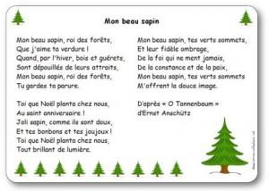 Chanson Mon Beau Sapin Paroles Illustrées Mon Beau Sapin à Imprimer