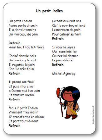 Chanson un petit indien de michel agneray paroles illustr es imprimer - Chanson un coup de soleil ...