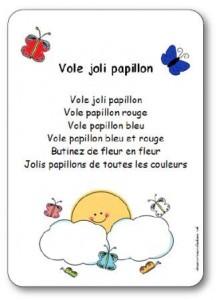 Comptine Vole Joli Papillon Paroles Illustrées à Imprimer