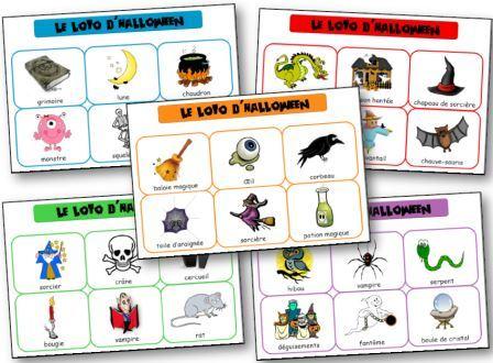 Jeu de loto d 39 halloween pour la maternelle imprimer - Le jeux de la sorciere qui fait peur ...