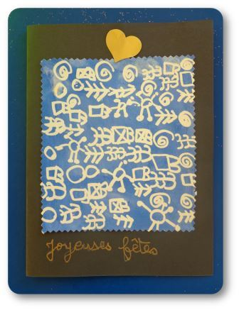 Carte de Noël graphisme drawing gum et encre, cartes de noël maternelle