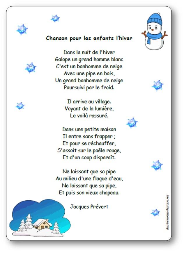 chanson pour les enfants l'hiver de Jacques Prévert