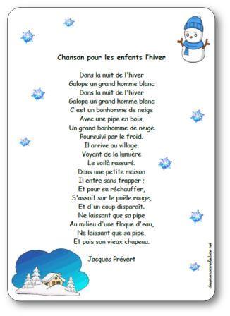 Poésie Chanson pour les enfants l'hiver Jacques Prévert