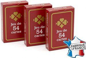 Lot de 3 jeux de 54 cartes fabriqués en France
