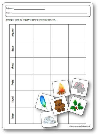 Activité sur le toucher classer des objets selon plusieurs critères
