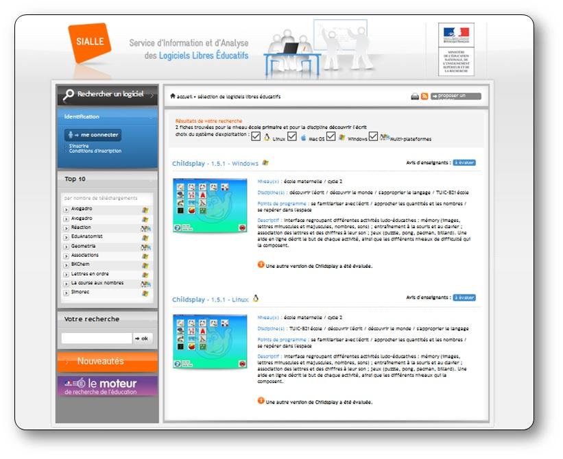 Le SIALLE, service d'information et d'analyse des logiciels libres éducatifs