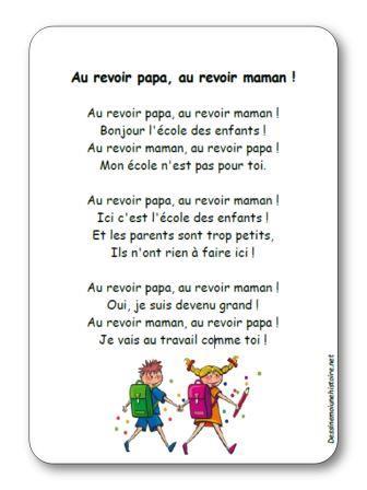 Comptine Au Revoir Papa Au Revoir Maman Illustrée à Imprimer