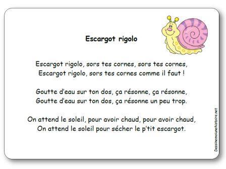 Comptine escargot rigolo paroles illustr es escargot rigolo imprimer - Escargot maternelle ...