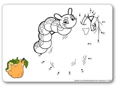 Jeu Relier les points 1 à 20 chenille et poire, points à relier automne