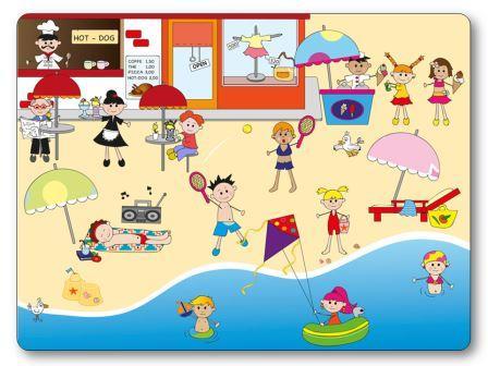 Jeu de topologie sur le thème de l'été : à la plage