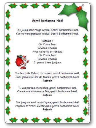 Chanson gentil bonhomme no l paroles illustr es chanson - Sapin de noel en anglais ...