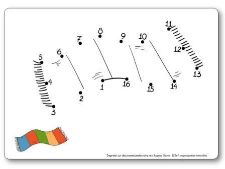 Points à relier 1 à 16 Echarpe jeu points à relier maternelle facile, points à relier hiver