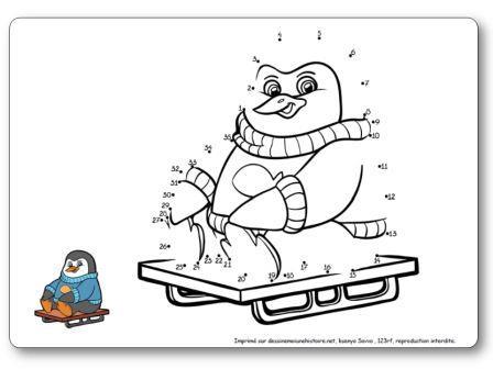 Points à relier 1 à 35 Pingouin luge jeu hiver maternelle, points à relier hiver
