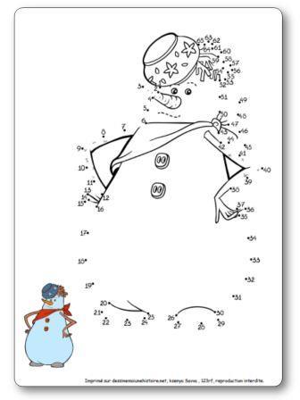 Points à relier 1 à 65 Bonhomme de neige jeu suite numérique maternelle