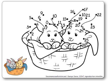 Jeu Points à relier 1 à 26 Lapins dans un panier, points à relier Pâques