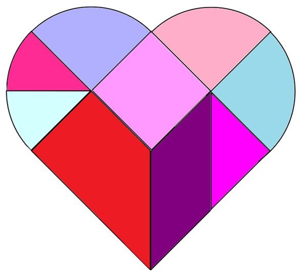 Le tangram c ur 24 mod les imprimer heart tangram printable - Modele de coeur a decouper ...