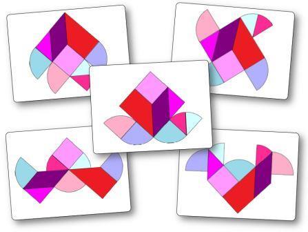 Heart Tangram puzzles printable pattern Modèles Tangram coeur à imprimer