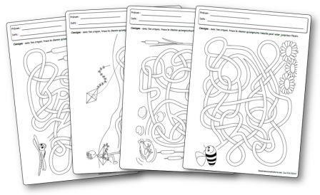 Labyrinthes printemps fiches d'activités à imprimer