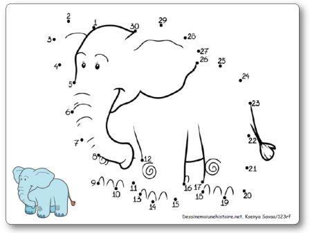 Points à relier 1 à 30 Eléphant