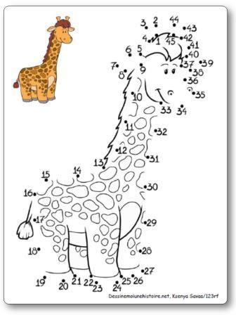 Points à relier 1 à 45 Girafe