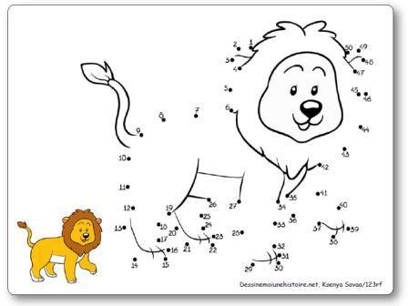 Points à relier 1 à 50 Lion