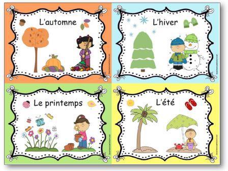 Apprendre les 4 saisons en maternelle - affichage des quatre saisons, Affichages saisons maternelle