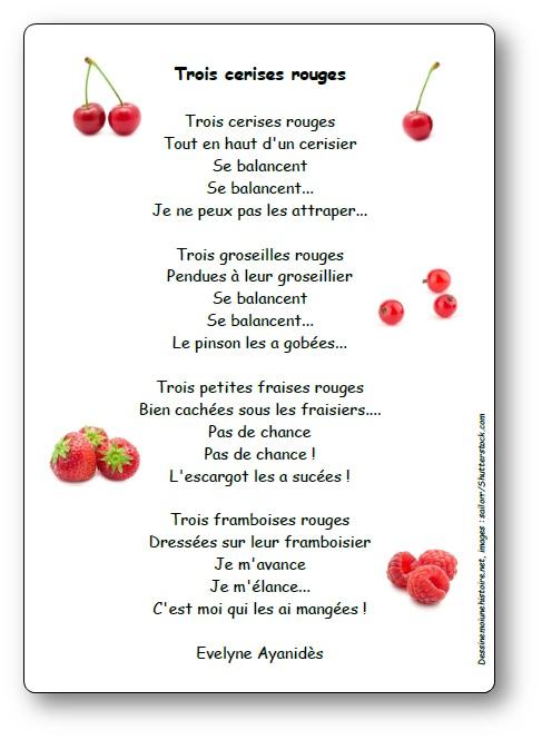 Poésie Trois cerises rouges d'Evelyne Ayanidès