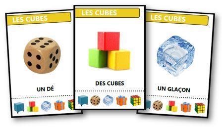 Jeu des sept familles des formes géométriques : les cubes