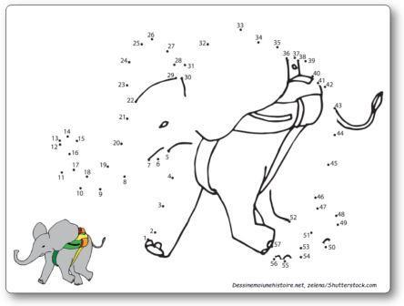 Points à relier cirque éléphant Relier les points 1 à 57
