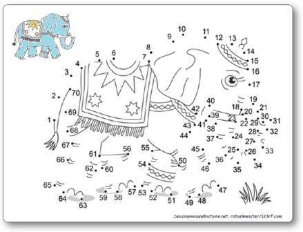 Points à relier cirque éléphant Relier les points 1 à 70