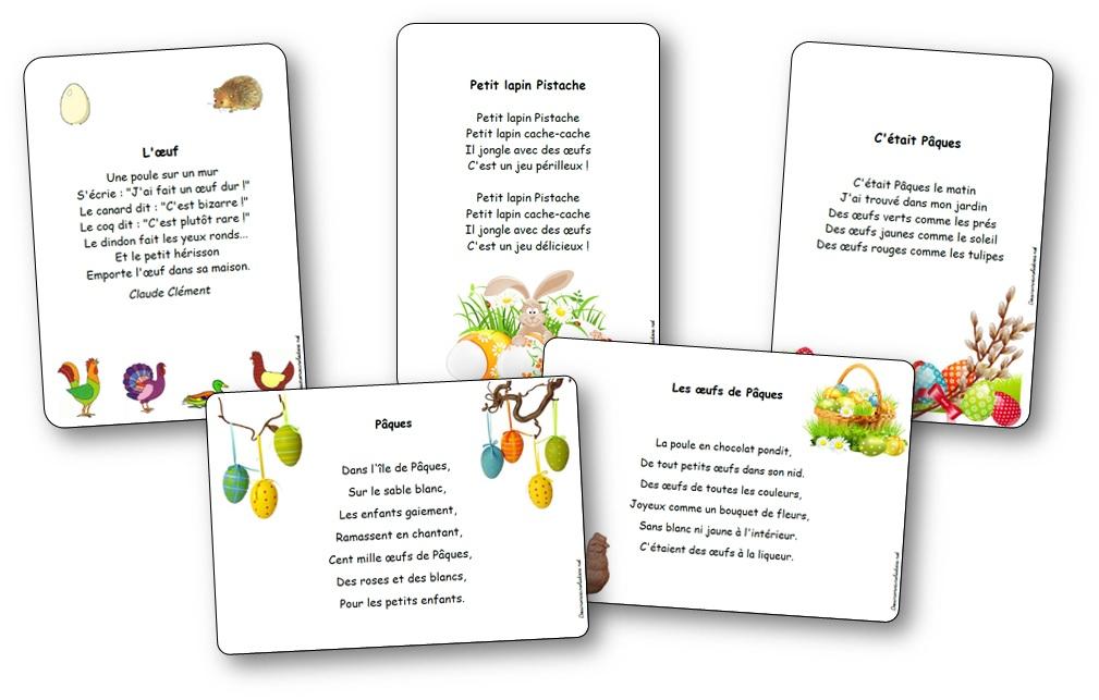 Chansons Comptines Et Poésies De Pâques Illustrée à Imprimer