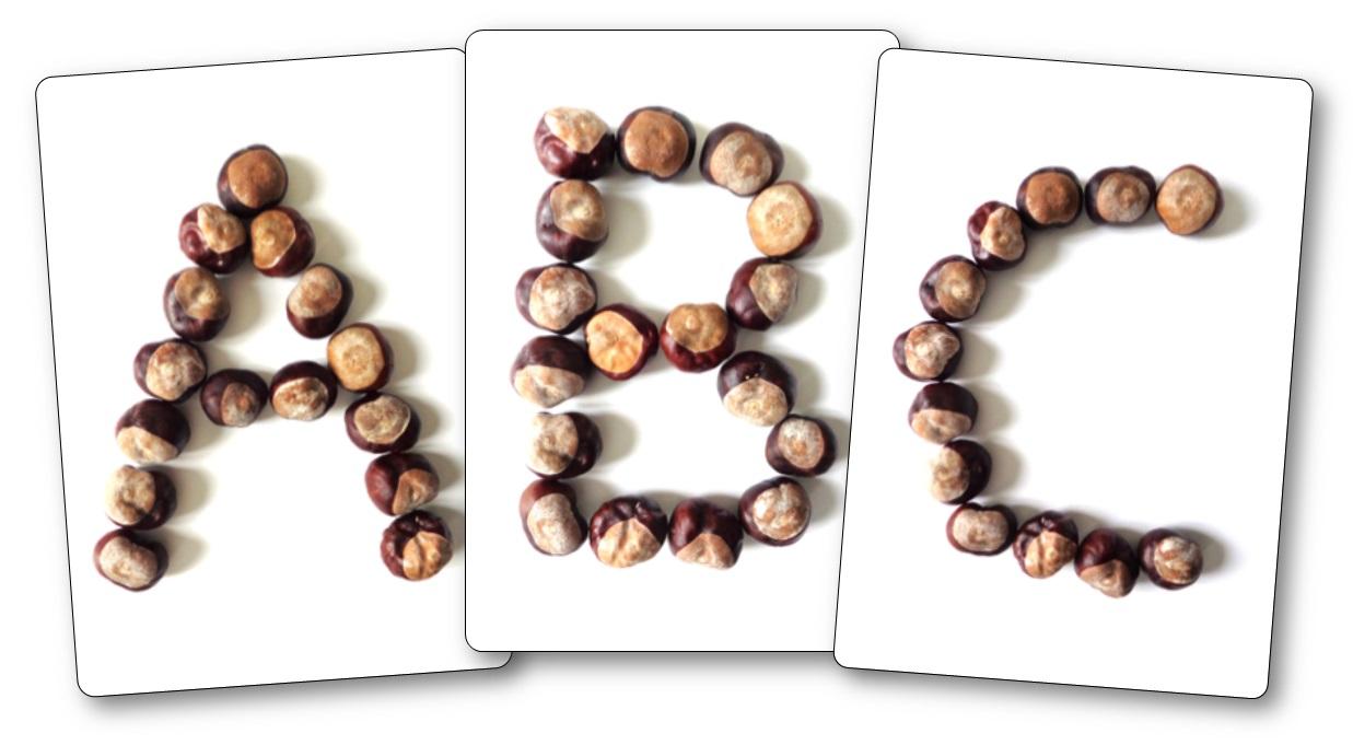 Fiches modèles alphabet avec des marrons, marrons maternelle