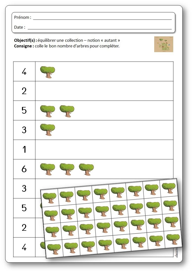 Equilibrer une collection, fiche mathématique arbre maternelle