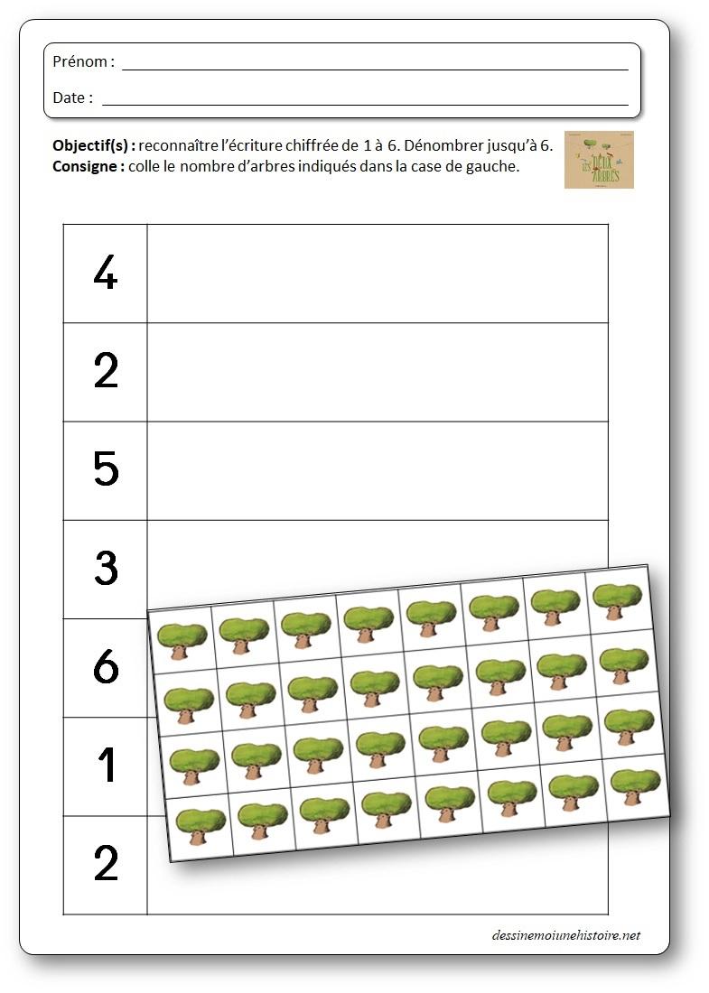 Activité de numération pour dénombrer et reconnaître l'écriture chiffrée de 1 à 6