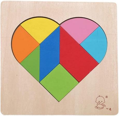 Puzzle en bois Tangram en forme de coeur
