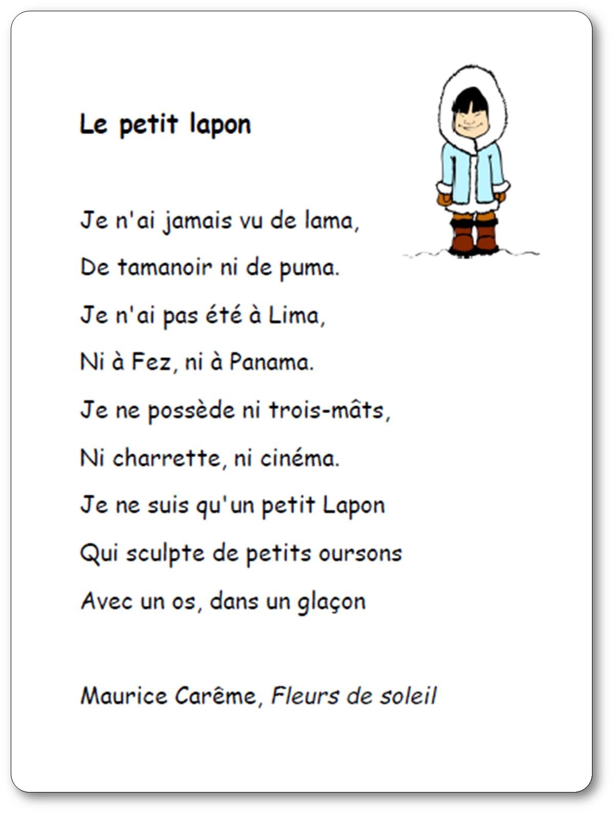 Poésie Le Petit Lapon De Maurice Carême Le Petit Lapon