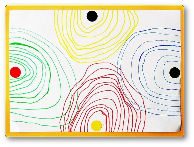 Demi-cercles concentriques, Tourner autour de gommettes en Moyenne Section