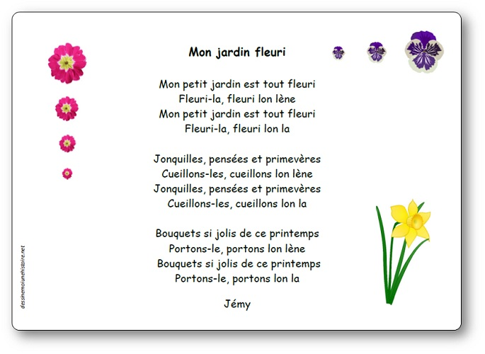 Mon jardin fleuri Jémy, comptine Mon jardin fleuri