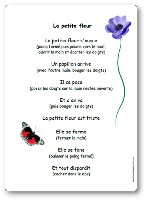 paroles illustr u00e9es de la comptine la petite fleur