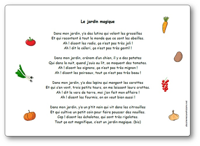 Chanson le jardin magique paroles illustr es de la for Un jardin sur l oronte
