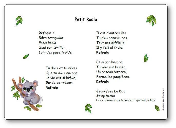 Comptine Petit koala