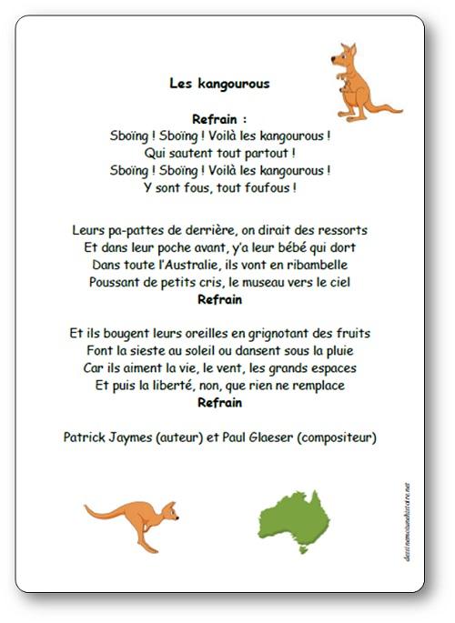 Chanson Les kangourous de Patrick Jaymes et Paul Glaeser
