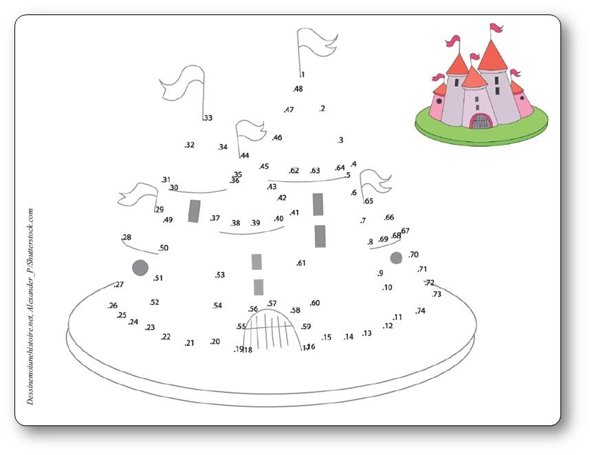 Jeu de points à relier pour enfant château fort, point a relier château