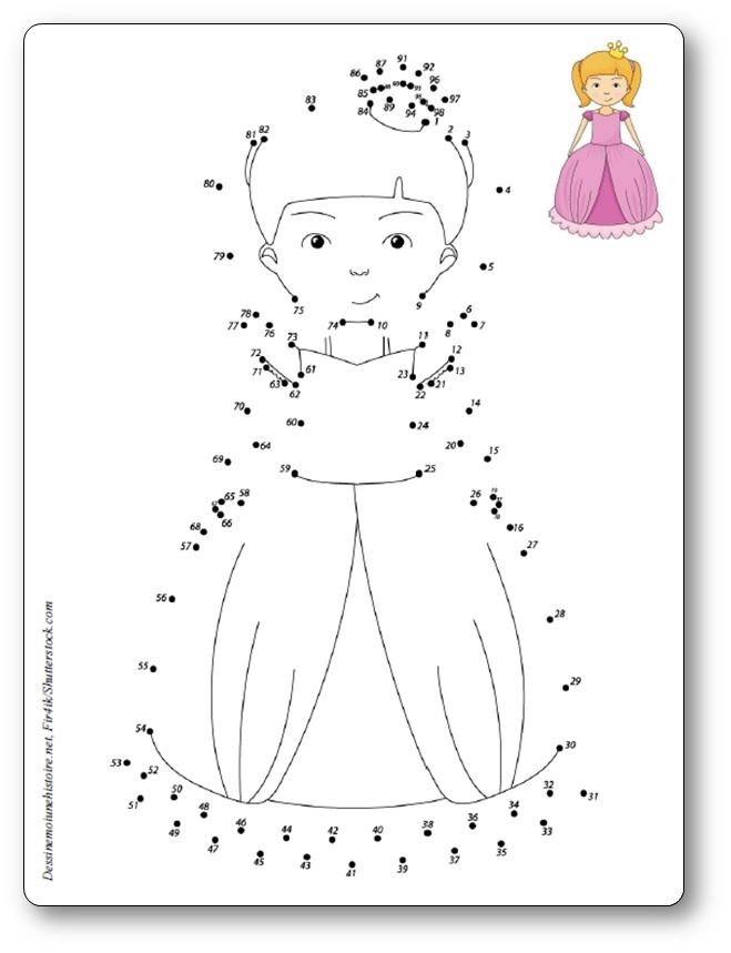 Jeu de points à relier princesse à imprimer