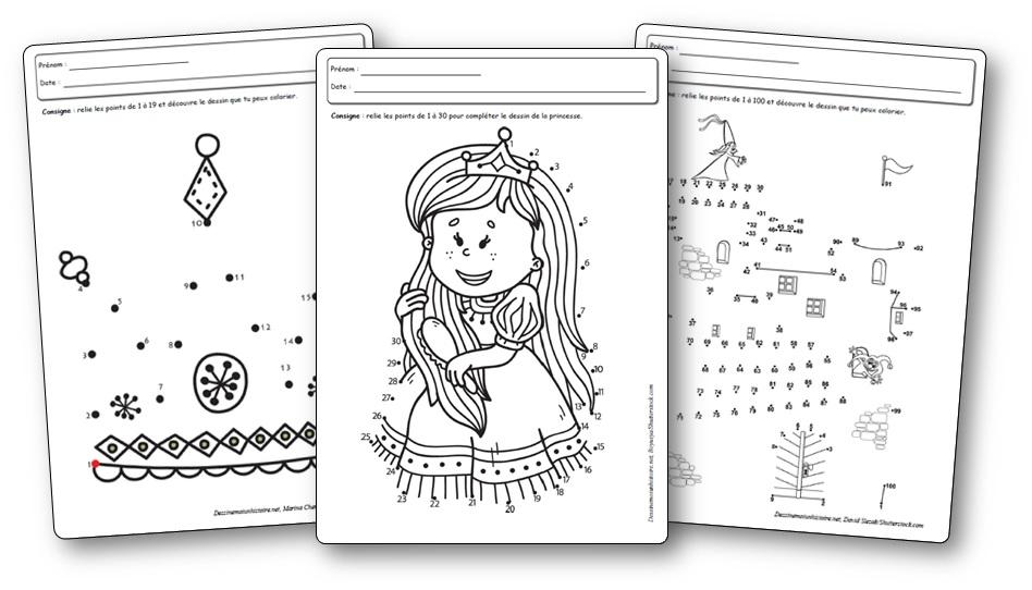 point a relier princesse à imprimer