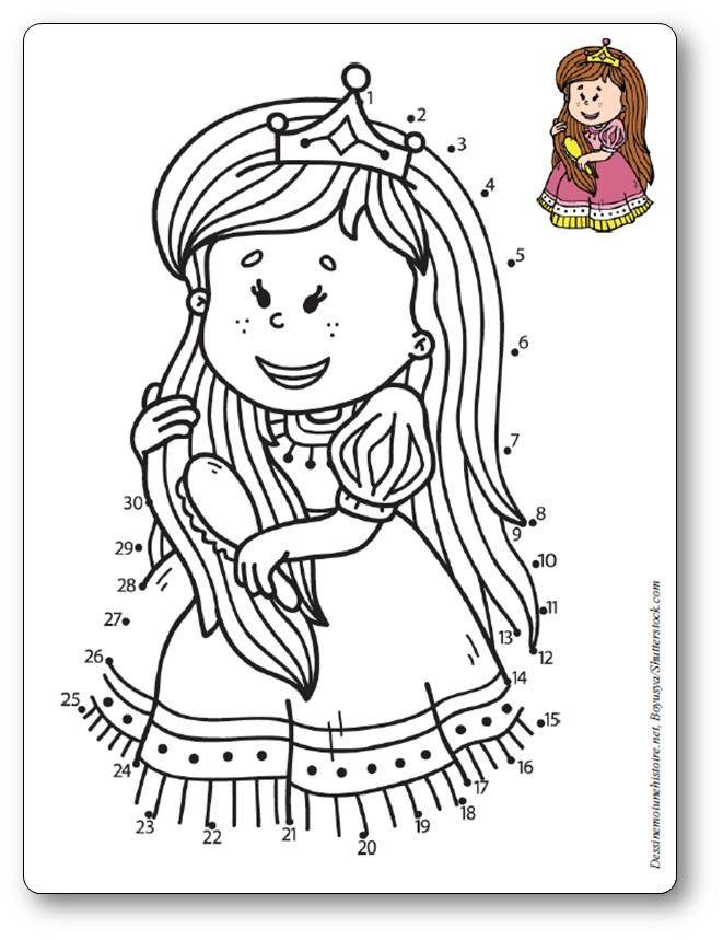 Jeu de points à relier princesse petite fille, , dessin princesse points à relier